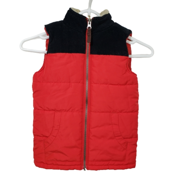 Boy's Puffy Vest with Corduroy & Sherpa Trim 6